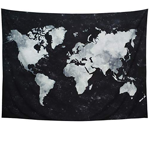 Lahasbja World Tapestry Map Tapestry Starry World Map Tapestry Apartment Essentials Black and White Tapestry Globe Galaxy Constellation Tapestry for Men Dorm Posters (XL/70.8