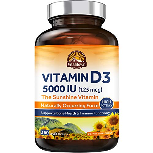 Vitalitown Vitamin D3 5000 IU (125 mcg), Supports Bone, Immune, Teeth, Muscle & Nerve Health, High Potency Natural Form D3 in Easy-to-Swallow Vegetarian Softgels, Non-GMO No Dairy & Gluten 360ct