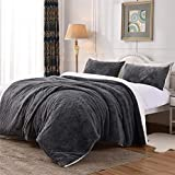 VIELIT Luxury Faux Fur Duvet Cover Set King Size 3 Pieces, Thick and Fluffy Microfiber King Duvet Cover with Zipper Closure and Ties, Soft and Plush Velvet Bedding Set Comforter Cover (104 x 90, Grey)