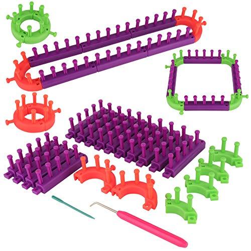 Coopay - Kit de punto para tejer, de plástico flexible, ajustable con ganchos de tejer, incluye un telón cuadrado y redondo para tejer sombreros, bufandas, gorros