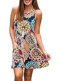 ZESICA Women's Summer Sleeveless Damask Print Pocket Loose T-shirt Dress, Geometric, Small