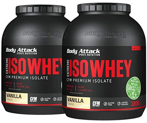 Body Attack Extreme Iso Whey, Whey Protein Pulver zum Muskelaufbau aus 100% irischer Weidemilch, fettarmes Eiweißpulver ohne Aspartam (Vanilla, 2 x 1,8 kg)