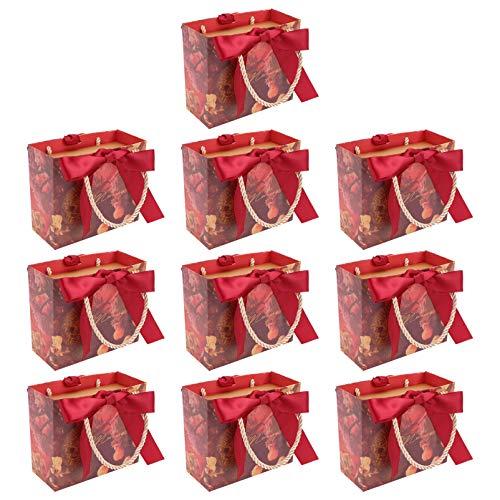 Cabilock 10 sztuk torebek na słodycze, torebki papierowe na prezenty, torby na zakupy, przyjęcia urodzinowe, dostawa weselne, pudełko na słodycze, czerwone