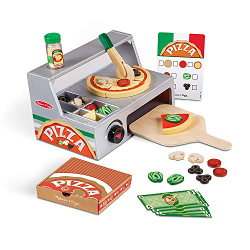 Melissa & Doug Top & Bake Pizza Counter Play Set | Pretend Play | Play Food | 3+ | Gift for Boy or Girl