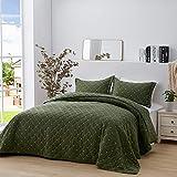 SunStyle Home Steppdecken-Set Green Diamond leichte Queensize/komplette Tagesdecke, olivgrün