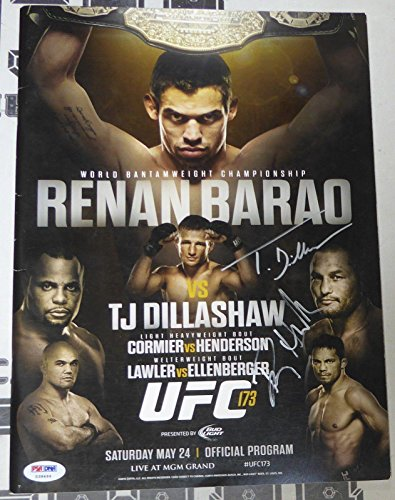Dan Henderson & T.J TJ Dillashaw Signed UFC 173 Event Program PSA/DNA COA Auto