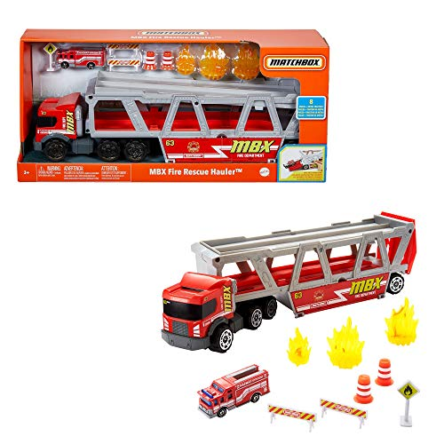 Matchbox Fire Rescue Hauler Playset Themed Hauler with 1 Fire-Themed Vehicle, Holds 16 Cars, Easy-Release Ramp, 8 Accessories & Storage, for Kids 3 Years Old & Up