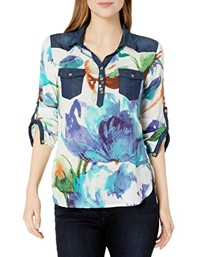 Desigual Damen Blus_ALA De Mariposa Hemd, blaugrün, Klein