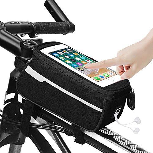 Fahrrad Rahmentasche Wasserdicht Fahrrad Handytasche TPU Touchscreen Fahrradtasche Fahrradlenkertasche mit Kopfhörerloch für für iPhone 7/8 Plus/Samsung S8 S9 Plus andere bis zu 6.0 Zoll Smartphone