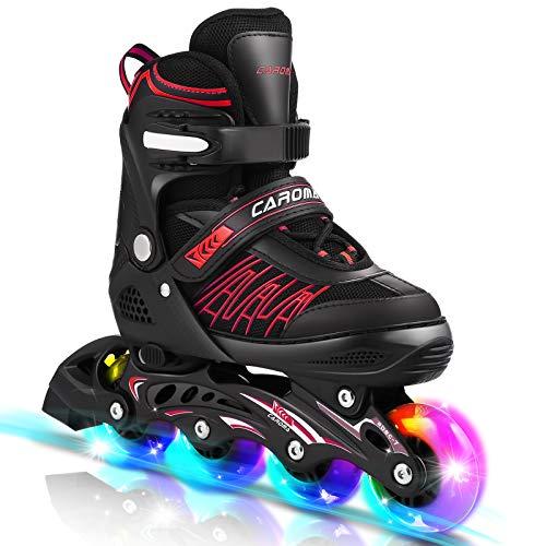 Inline-Skates mit 8 LED-Rädern im Freien 3-fach verstellbare Rollschuhe für Kinder, Frauen, Männer (Schwarz Rot, L(38-41))