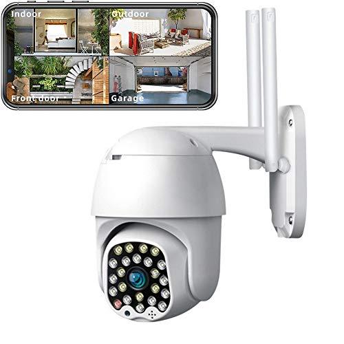 Telecamera Wifi Esterno, 1080P FHD, Telecamera di Esterna, Impermeabile, Supporta Rilevazione Movimento, Audio Bidirezionale, Visione Notturna, Telecamera Esterna WiFi WLAN con APP per IOS Android