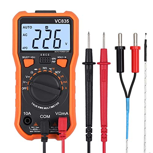 Proster Digital Multimeter 8233D Pro 2000 Counts TRMS NCV AC DC Current Voltage Temperature Transistor (hFE) Diode and Continuity Tester