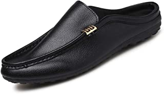 Loafers For Men Round Toe Half Slipper Mules Slip On Microfiber Leather Light weight Cozy Breathable Handmade Suture Anti Slip Men Shoes (Color : Black, Size : 39 EU)