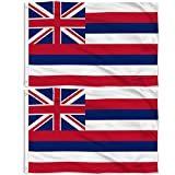 Aisto 2 Pieces 3x5 Feet Hawaii State Flag for Outdoor and Indoor Use -Made by 100% Polyester-Vivid Colors and UV Fade Resistant - Double Stitched with Two Brass Grommets.