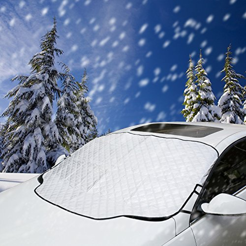 VIVVAUTO Magnetic Car Windshield Cover for Ice and Snow, Hail / 3 Magnets and Inside Buckle Belt. Most Secure Fitting and Easiest Installation/Waterproof, 4 Layer Soft Scratch-Free, Padded Liner