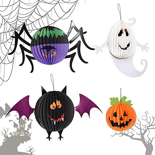 Linternas de Papel de Halloween,4 Pcs Halloween Plegable Linterna de Papel,Decoración de la Linterna de Papel de Halloween,Decoración de linterna de Halloween para Decoración de Fiesta Chico