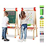 Joyooss Kids Wooden Easel with Extra Letters and Numbers Magnets, Adjustable Double Sided Drawing Board Whiteboard & Chalkboard Dry Easel Board, Children Art Easel for Boys Girls Painting Drawing