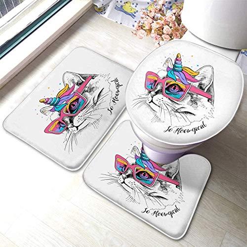 HNFY Alfombra baño Gafas Gato 3D Impreso 3 Piezas Alfombrillas para Baño Antideslizantes Franela alfombras Lavables Alfombrilla de baño para Inodoro Decoraciones