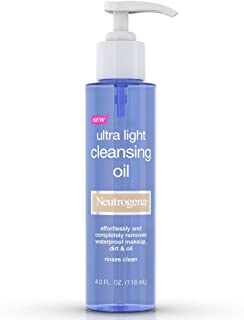 Neutrogena Ultra Light Facial Cleansing Oil & Makeup Remover, Non-Comedogenic Face Oil Cleanser to Remove Dirt, Oil, Makeup & Waterproof Mascara, 4 fl. oz