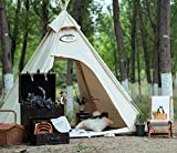 Outdoor Heavy Duty Cotton Canvas Camping Indian Tipi Tent for 2~3 Person (Beige Cotton Canvas Tent)