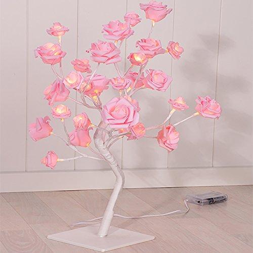 LED di albero in fiore rosa h 45cm Rose Albero Albero luminoso Luce di Natale Albero LED luce bianca calda