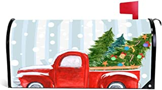 Yilooom Christmas Red Pickup Truck On A Snowy Road Mailbox Cover Magnetic Mail Box Wrap Yard Garden Decor 17.25 X 20.75 Inches