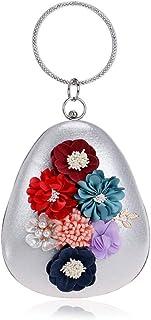 Fine Bag/Women Flower Clutches Evening Bags Handbags Wedding Clutch Purse Banquet Bag (Color : Silver, Size : One Size)
