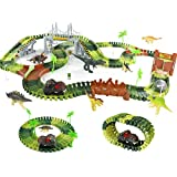 Symiu Dinosaurios Juguetes Pista de Carreras con Coche de Dinosaurio 216 Piezas Circuito Magico de...