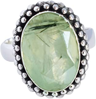 Ravishing Impressions Jewellery Anillo nupcial de plata de ley 925 con piedras preciosas naturales de prehnite para mujer