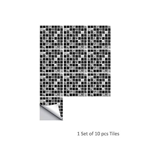 SNIIA 3D zelfklevende waterdichte zwarte marmer mozaïek tegels sticker muurkunst keukenmeubelen muur achtergrond decoratie 10-delig/set Astounding Advantage