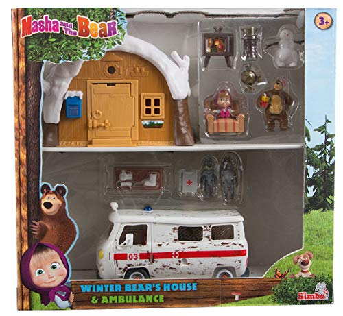 Simba - Masha et Michka - Hutte de Michka Hiver + Ambulance - 4 Figurines + 1 Bonhomme de Neige - 109301069