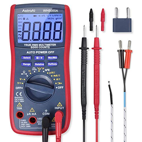 AstroAI Digital Multimeter, TRMS 6000 Counts Volt Meter Manual and Auto Ranging; Measures Voltage Tester, Current, Resistance, Continuity, Frequency; Tests Diodes, Transistors (Renewed)