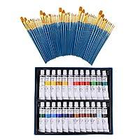 dailymall 74ピース/個アーティストアクリル塗装ブラシセットチューブアクリルペイント描画キット