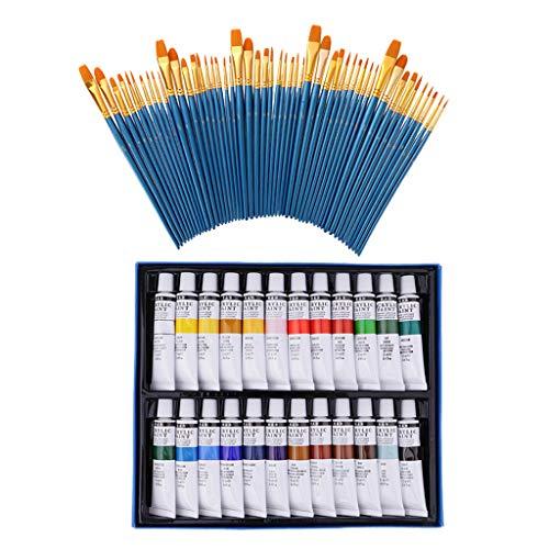 B Baosity 50pcs Brosse de Peinture à Cheveux en Nylon Pinceaux à Tête Plat avec 24pcs Peinture Acrylique pour Acrylique Aquarelle Accessoire