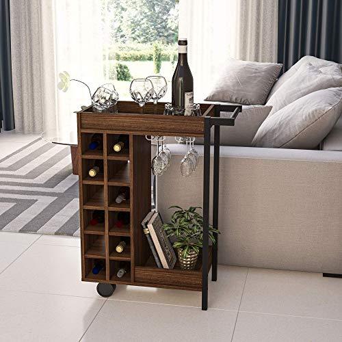 Boahaus Bristol Bar Cart, Wine Rack up to 12 Bottles, 2 Wheels, Cup Holder