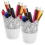 MyGift White Metal Decorative Cut-Out Design Pen & Pencil Holder Desktop Organizers, Set of 2