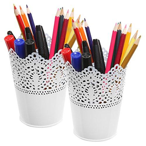 Set of 2 White Metal Decorative Cut-Out Design Pen & Pencil Holder / Desktop Organizers - MyGift