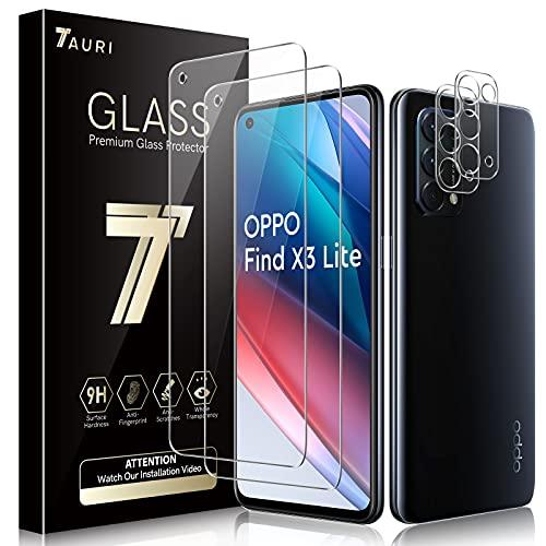 TAURI Schutzfolie Kompatibel Mit Oppo Find X3 Lite 2 Stück Kamera Panzerglas & 2 Stück Schutzfolie Blasenfreie Folie 9H Festigkeit Klar HD Bildschirmschutz