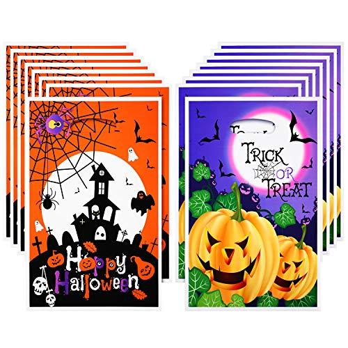 Boao 100 Stück Halloween Plastik Tüten Süßigkeiten Geschenk Tüten Süßes oder Saures Tüten Jack O Lantern Kürbis Treat Tüten für Halloween Party Gefallen