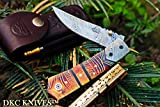 DKC Knives (121 5/18) DKC-136 Chief Damascus Steel Folding Pocket Knife 4.5' Folded 8' Open 7.3oz 3' Blade High Class Looks Incredible Feels Great in Your Hand Quality Knife