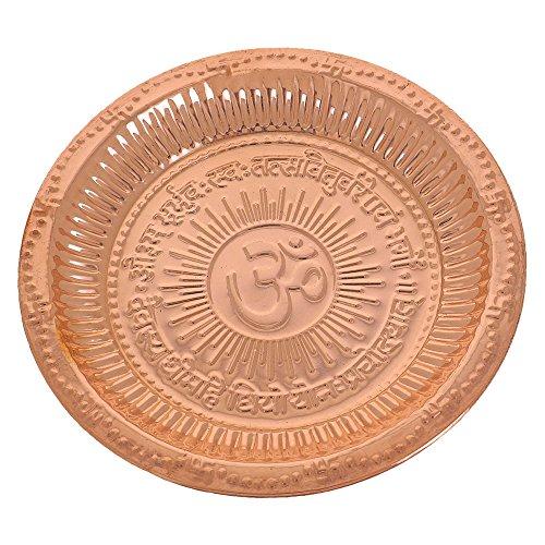 Shalinindia Vassoio Decorativo, Fatto a Mano, in Rame, con Simbolo dell'Om e del Mantra Gayatri