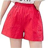 U/A Été Casual Pantalon Court Femmes Taille Haute Lin Mélange de Coton Lâche Décontracté Jambe Large Pantalon en Lin Mujer - Rouge - L