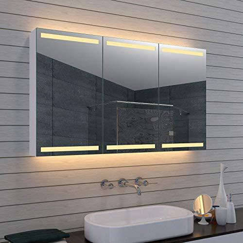 Lux-aqua LED Beleuchtung Badezimmerschrank Spiegelschrank Badschrank Kosmetikspiegel MLA1270-D1, Silber, 1200mm x 700mm x 127mm