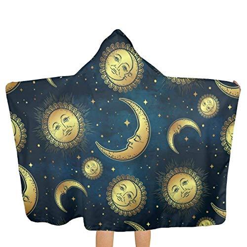 Sdltkhy Golden Celestial Body Moon 81x130cm Toalla de baño Toalla de Playa con Capucha Patrón de Personalidad Unisex Adecuado para el hogar Playa Piscina Viaje