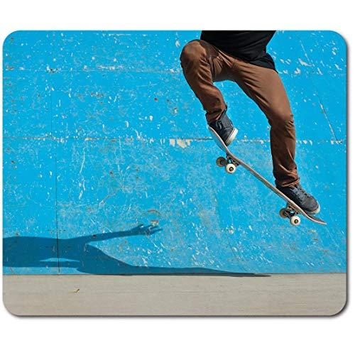 Esterilla rectangular para ratón, monopatín Ollie Trick Skateboard Skate 23,5 x 19,6 cm (9,3 x 7,7 pulgadas) para computadora y portátil, oficina, base antideslizante #46300