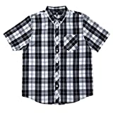 LRG Men's Lifted Research Group Short Sleeve Woven Button Up Shirt, Black Onyx, L