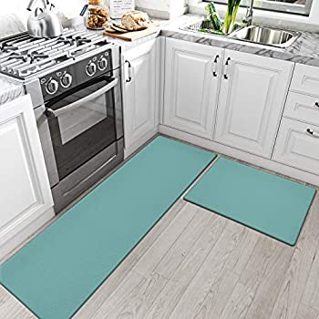 DEXI Kitchen Rugs and Mats Cushioned Anti Fatigue Comfort Runner Mat for Floor Rug Waterproof Standing Rugs Set of 2,17 x29 +17 x59  Turquoise