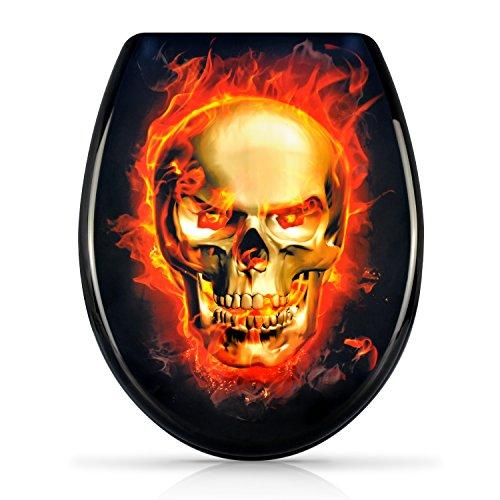 """WC Sitz mit Absenkautomatik -""""Burning Skull"""" Design - Duroplast Toilettendeckel mit Motiv inkl. Montagesatz - Grinscard"""