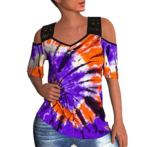 SLYZ Blusa De Camiseta De Manga Corta con Estampado De Teñido Anudado De Encaje De Moda De Talla Grande De Verano para Damas Europeas Y Americanas