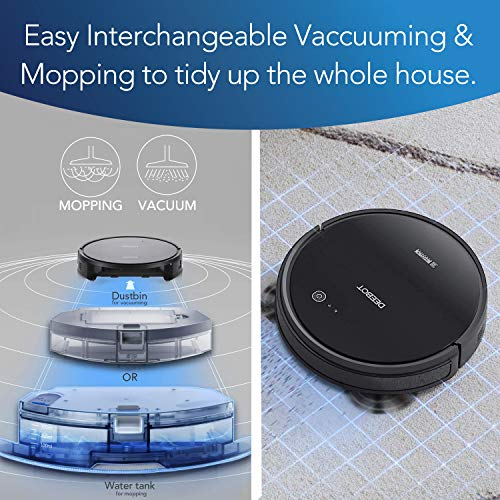 DEEBOT 661 Convertible Vacuuming or Mopping Robotic Vacuum Cleaner with Max Power Suction, Upto 110 Min Runtime, Hard Floors and Carpets, App Controls, Self-Charging, Quiet